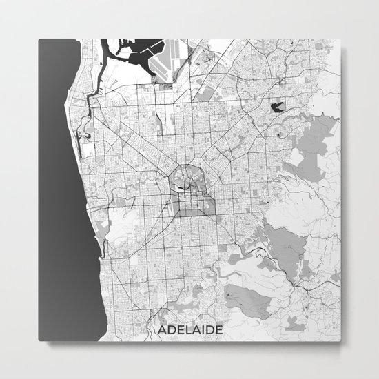 Adelaide Map Gray Metal Print