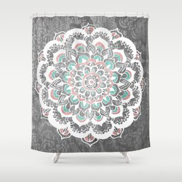 Pastel Floral Medallion on Faded Silver Wood Shower Curtain