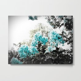 Turquoise & Gray Flowers Metal Print