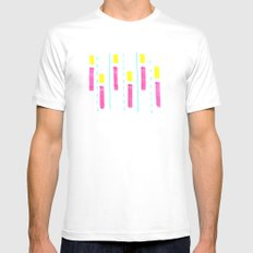 Pink and Lemon Stripes  Mens Fitted Tee MEDIUM White