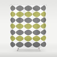 mid century modern Shower Curtains featuring Mid-Century Modern Abstract Ovals by Kippygirl