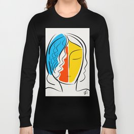 Graphic Minimal Portrait Design Orange Yellow and Blue Long Sleeve T-shirt