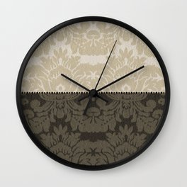 Brown and Tan Faux Linen Damask Wall Clock