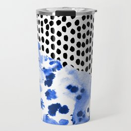 Monroe - painted abstract watercolor ink polka dots dotted indigo blue minimalism nursery Travel Mug