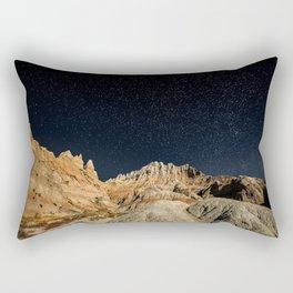 Into the Sea - Night Sky Over the South Dakota Badlands Rectangular Pillow
