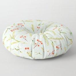 Christmas Pine and Berries Watercolor Winter Mint Floor Pillow