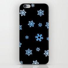 Snowflakes (Blue & White on Black) iPhone & iPod Skin