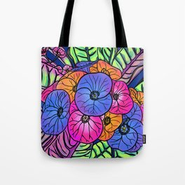 Colourful Flowers and Leaves Tote Bag