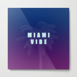 Miami Vibe Synthwave/New Retro 80's Inspired Metal Print