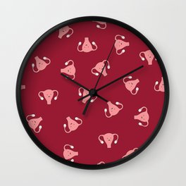 Crazy Happy Uterus in Red, Large Wall Clock