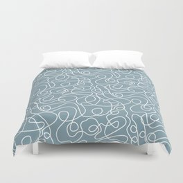 Doodle Line Art | White Lines on Dusty Blue Duvet Cover