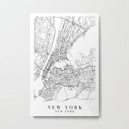 New York New York Street Map Minimal Metal Print