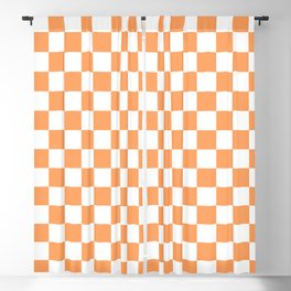 Gingham Orange Mango Checked Pattern Blackout Curtain