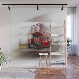 Old Red London Bus Vintage transport Wall Mural