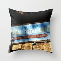 cafe Throw Pillows featuring Cafe by Ink and Paint Studio