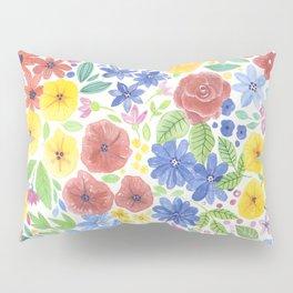 Doodle floral garden in watercolor Pillow Sham