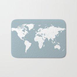 Minimalist World Map in Slate Blue Bath Mat
