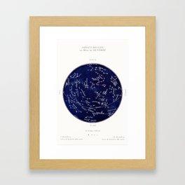 French October Star Map in Deep Navy & Black, Astronomy, Constellation, Celestial Framed Art Print