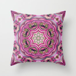 Pink-and-olive relish . Ornament Throw Pillow