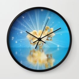 baby animal ducks in digital sky Wall Clock