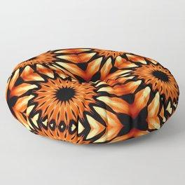 Orange & Black Pinwheel Flowers Floor Pillow