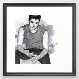 Dylan O'Brien Portrait Framed Art Print
