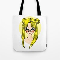 sailormoon Tote Bags featuring Usagi Sukino by Sailisally