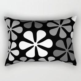 Abstract Flowers Monochrome Rectangular Pillow