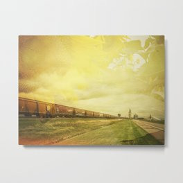 Freight Train And Sunflowers Double Exposure Metal Print