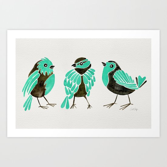 Turquoise Finches Art Print
