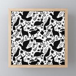 Seamless Mexican Otomi Style monochromatic Pattern Framed Mini Art Print