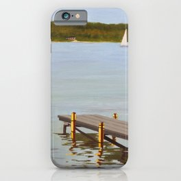Dock in Lake Huron painting iPhone Case