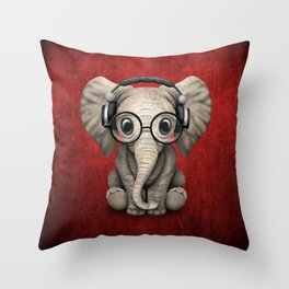 Cute Baby Elephant Dj Wearing Headphones and Glasses on Red Throw Pillow