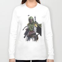 boba fett Long Sleeve T-shirts featuring Boba Fett by KristinMillerArt
