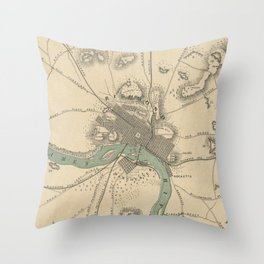 Vintage Map of Richmond Virginia (1867) Throw Pillow