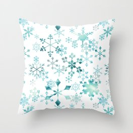 Snowflake Crystals In White Throw Pillow