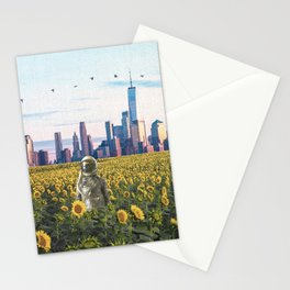 Astronaut in the Field-New York City Skyline Stationery Cards
