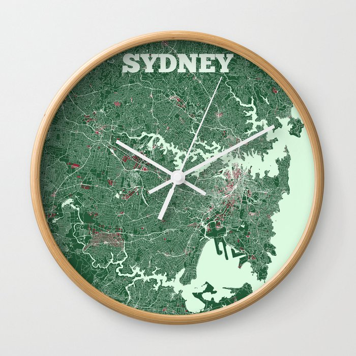 Sydney, Australia street map Wall Clock