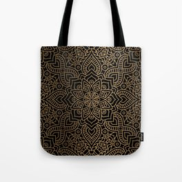 Black Gold Mandala Tote Bag