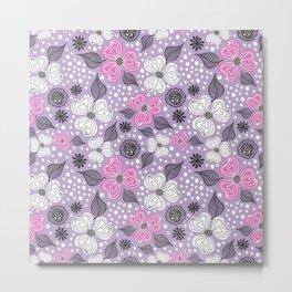 Floral Dream, Floral Pattern Magenta Purple Metal Print
