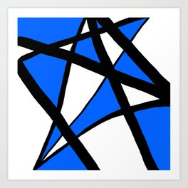 China Blue Geometric Triangle Abstract Art Print