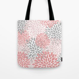 Floral Pattern, Coral Pink and Gray Tote Bag