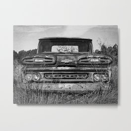 Vintage Truck Black and White Photography Metal Print