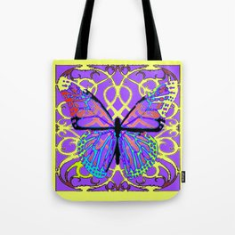 ABSTRACT PURPLE-YELLOW BUTTERFLY ART Tote Bag
