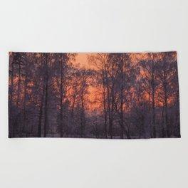 Winter Scene - Frosty Trees Against The Sunset #decor #society6 #homedecor Beach Towel