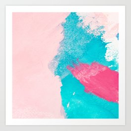 Blush pink blue teal watercolor hand painted brushstrokes Art Print