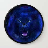 panther Wall Clocks featuring Panther by Michael White
