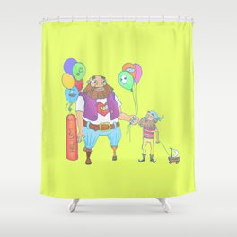 Kid pirate and huge pirate! Shower Curtain