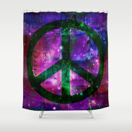 Peace symbol and infused colors Shower Curtain