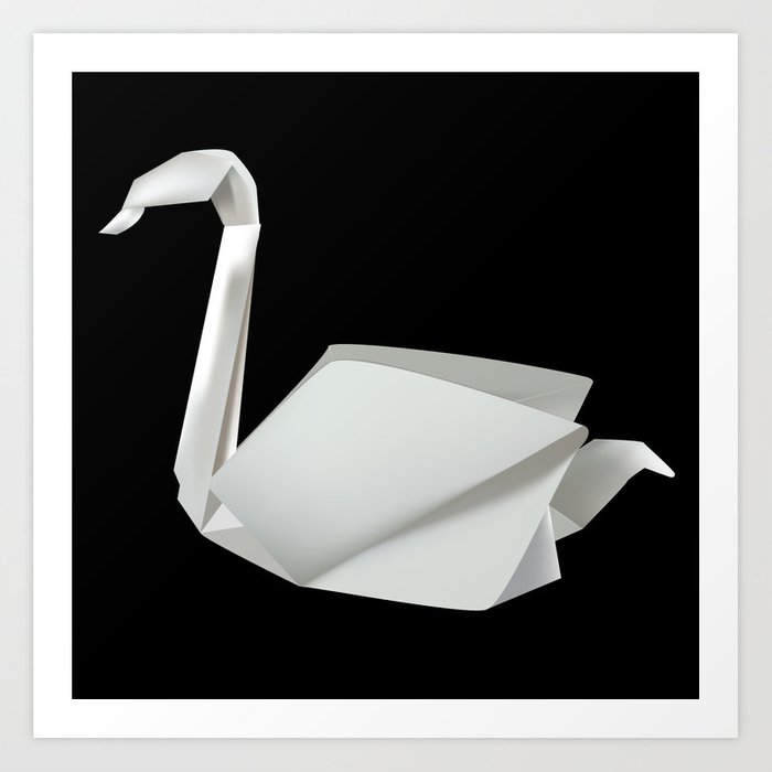 White Origami Swan Art Print By Shadowisper Society6